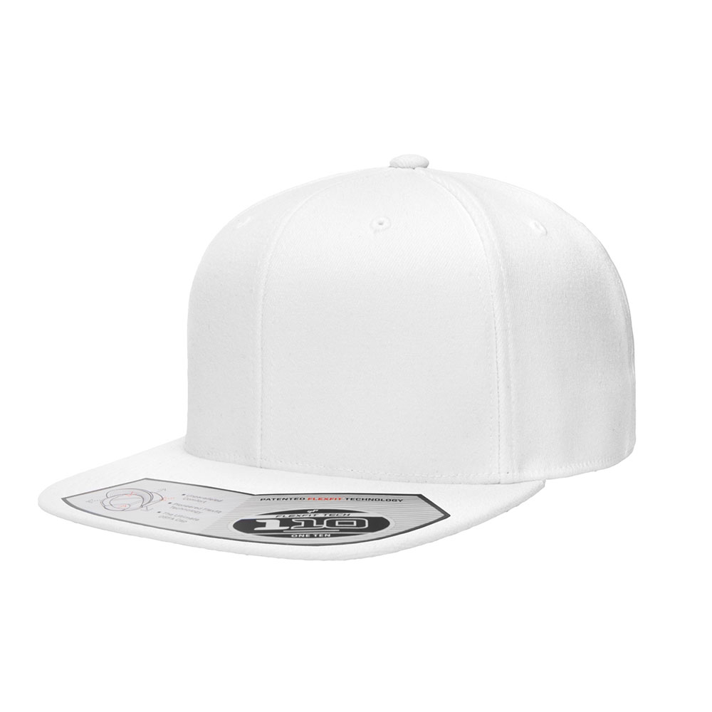 Flexfit-110F-Flatbill-Snapback-White-Hat
