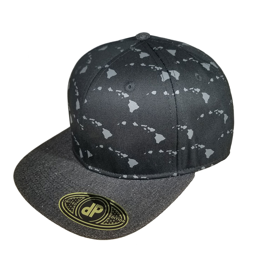 Hawaiian-Islands-Denim-Snapback-Flatbill-Hat