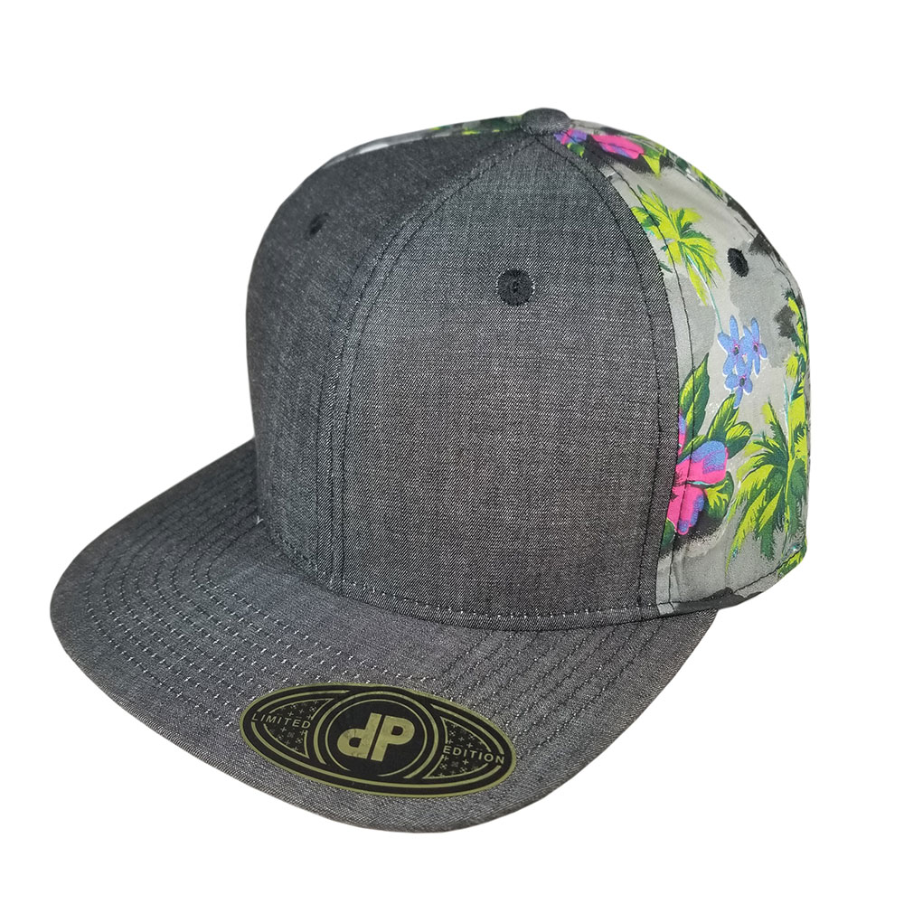 Black-Denim-Green-Floral-Aloha-Snapback-Flatbill-Hat-Cap