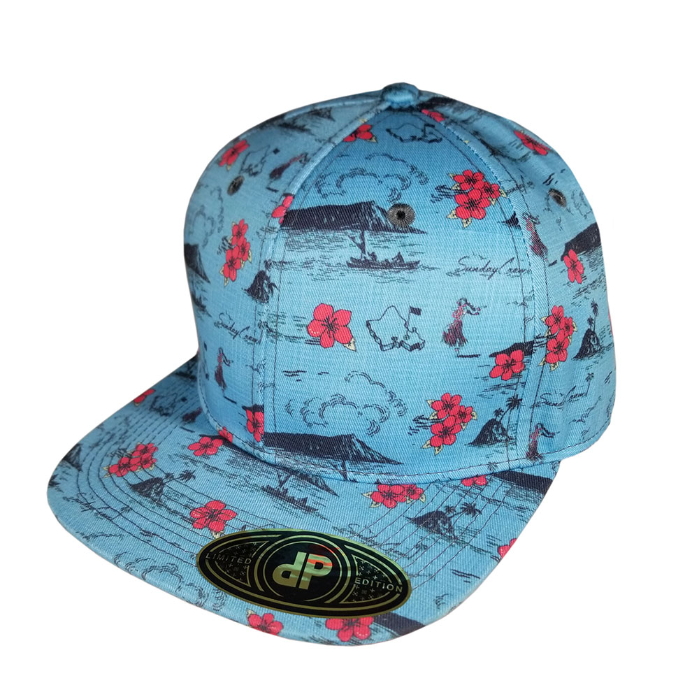 Oahu-Golf-Blue-Pink-Floral-Aloha-Snapback-Flatbill-Hat-Cap