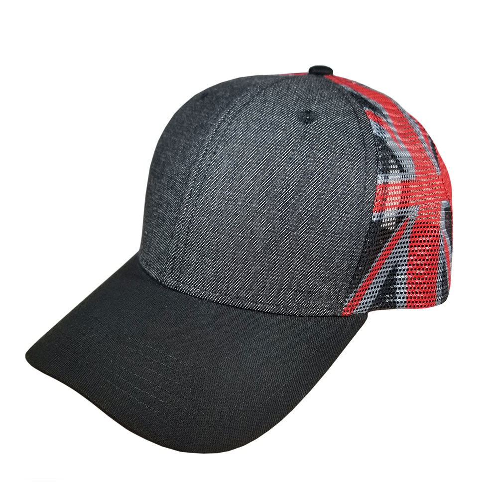 Black-Denim-Red-Gray-Black-Flag-Mesh-Flatbill-Snapback-Hat-Cap