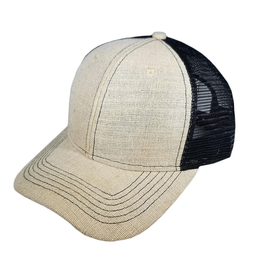 Burlap-Canvas-Tan-Khaki-Black-Mesh-Snapback-Curved-Bill-Hat-Cap