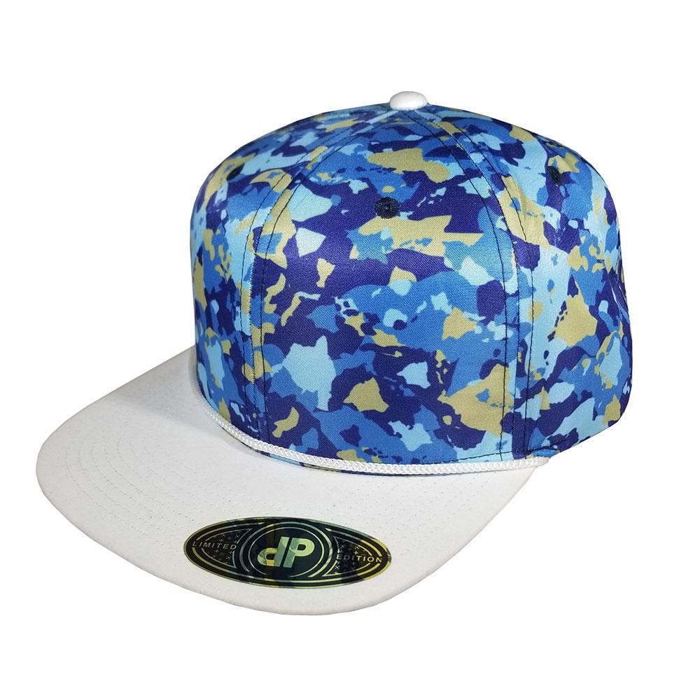 Island-Camo-White-Gold-Blue-Snapback-Curved-Bill-Hat-Cap