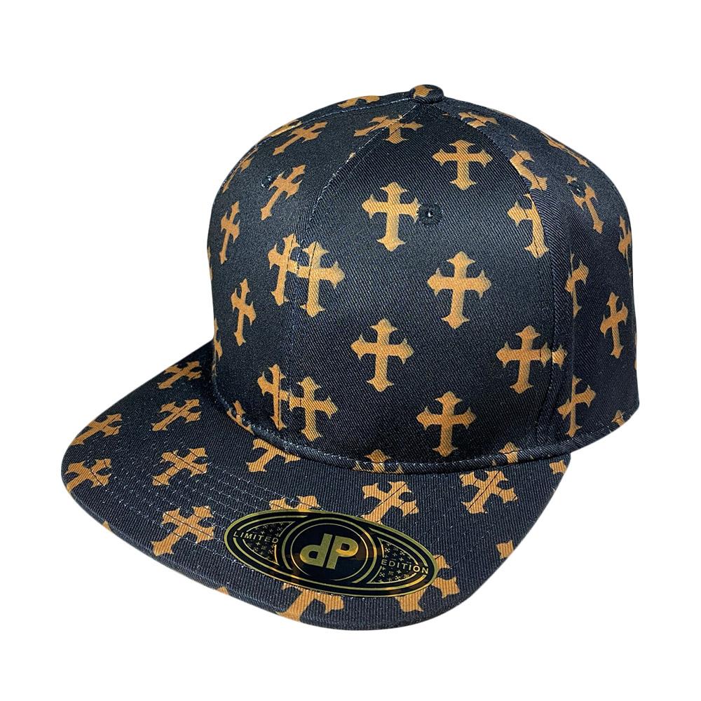blank-hat-snapback-flatbill-gold-cross-black