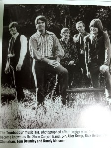 The original Stone Canyon Band. L-R: Kemp, Nelson, Shanahan, Brumley, and a 23-year-old Meisner, who looks so young I almost feel inappropriate swooning over him in this pic.
