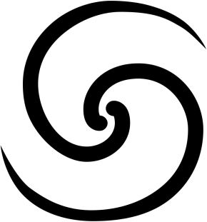Two brushstroke double spirals. Black lines on white background.