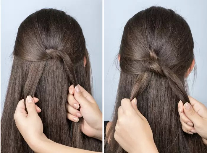"""the """"Twister"""" a simple hairstyle for school"""