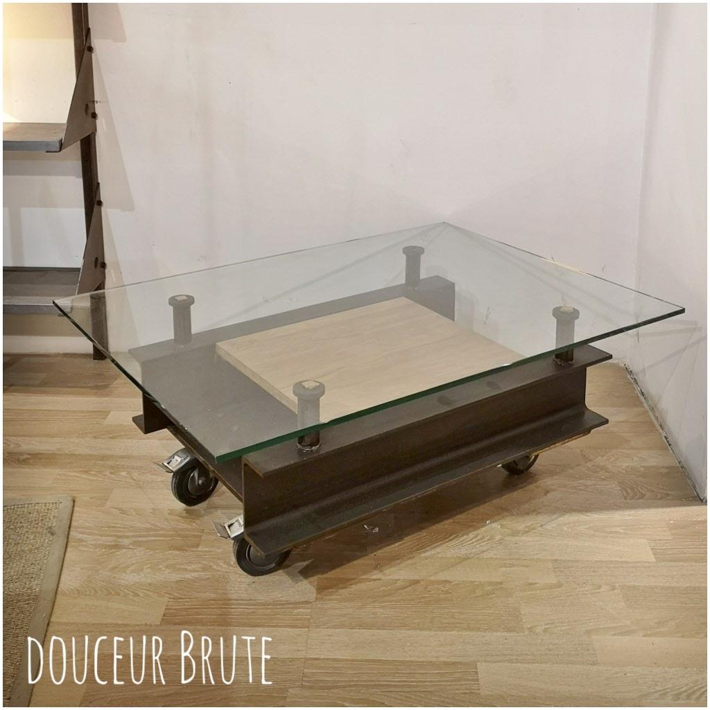 table basse style industriel metal et bois graphiq n3