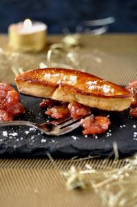 Foie gras poele et son chutney de pommes-raisins