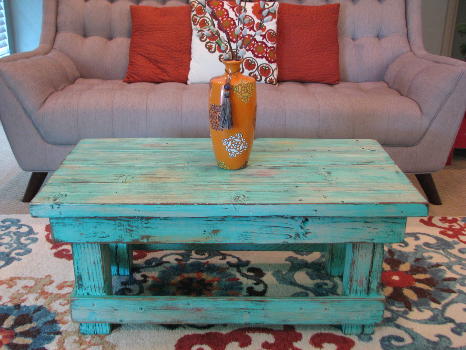 Rustic Distressed Coffee Table With Aqua Color Pop