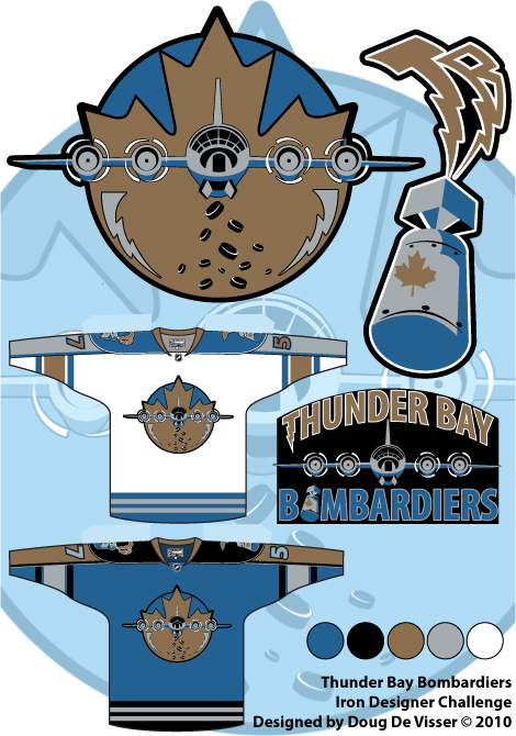 Thunder Bay Bombardiers logo and uniform concepts - September 2010