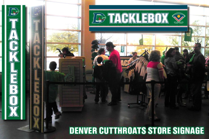 "Signage for the ""Tackle Box"" booth inside the Denver Coliseum for the Denver Cutthroats home games."