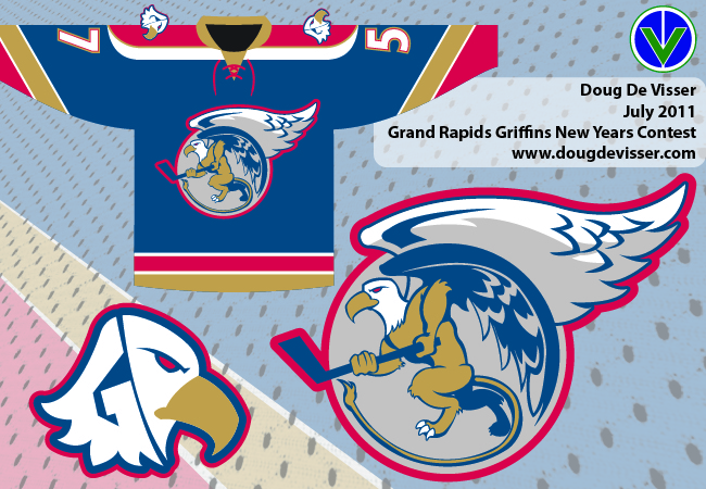 A concept for the Grand Rapids Griffins primary logo, secondary logo, and away jersey concept.