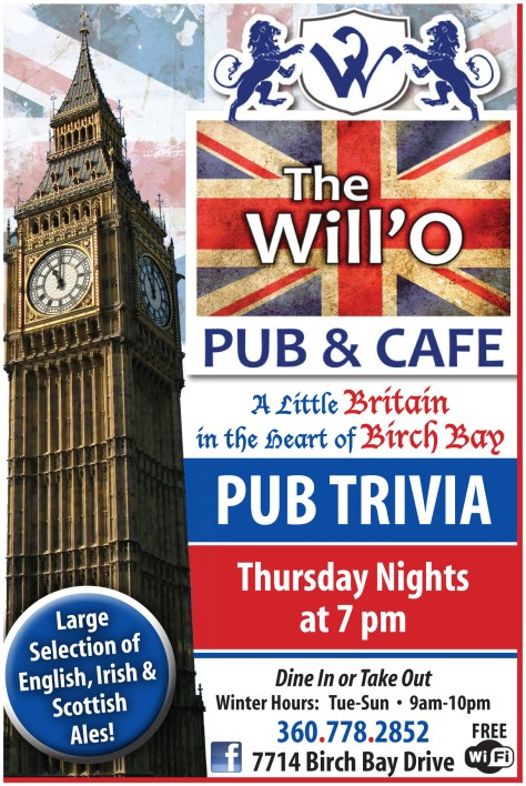 A Will'O Pub advertisement from the 2013 October 24 issue of The Northern Light.