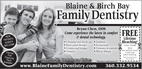An ad from the 2014 February 20 issue of The Northern Light for Blaine and Birch Bay Family Dentistry.