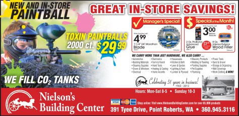 An ad for Nielson's Building Center that was placed in the February 2014 edition of All Point Bulletin.