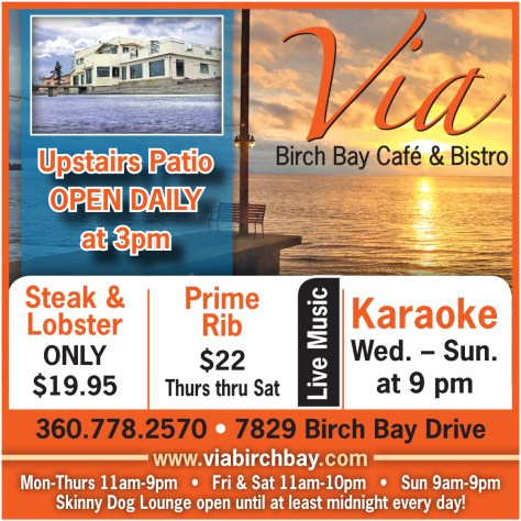 Via Birch Bay Cafe and Bistro advertisement found in The Northern Light on 2014 June 12.