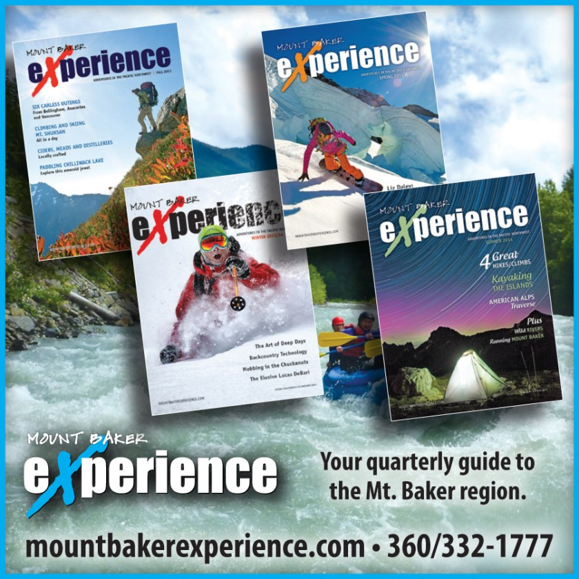An ad for our outdoor adventure magazine, Mount Baker Experience, that was placed in the 2014 Mount Baker Map.