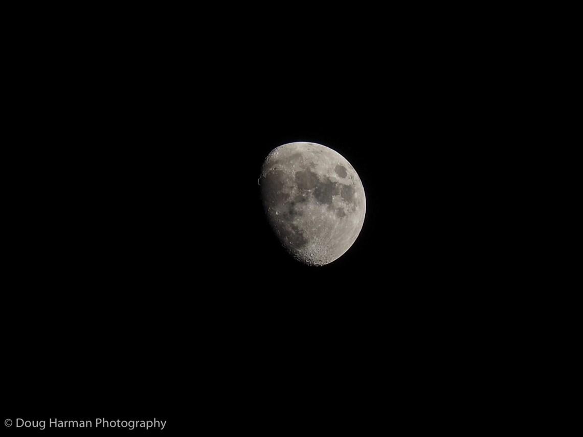 The Waxing Gibbous moon, Photo by Doug Harman.