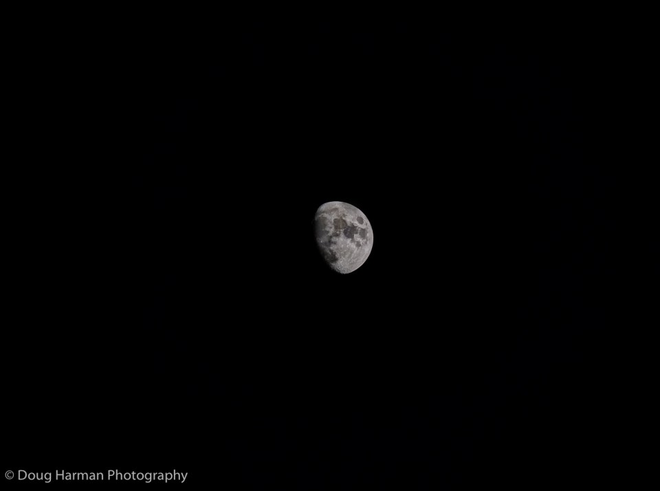 This is my 16-megapixel HDR moon Photo. It adds a certain contrast to the shot of course but does not add anything the main digitally cropped image above doesn't already provide.