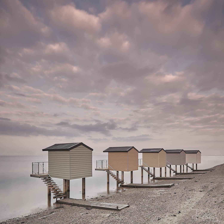 Stilted Beach Huts at Dawn