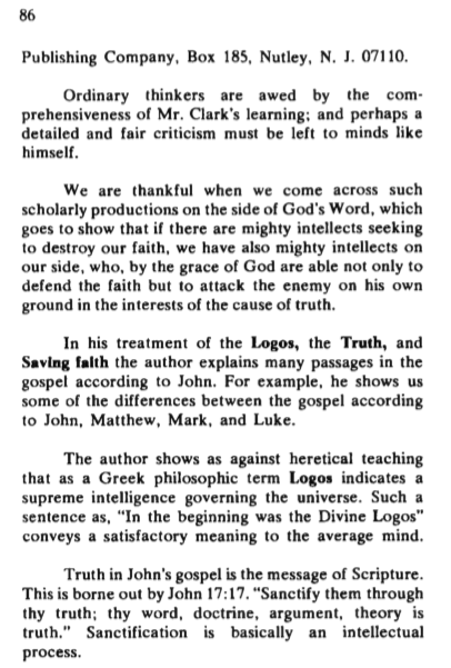ghc review 20; the johannine logos, review, blue banner faith and life, vol 28, jan-mar, 1973, no. 1, p. 85-86. b