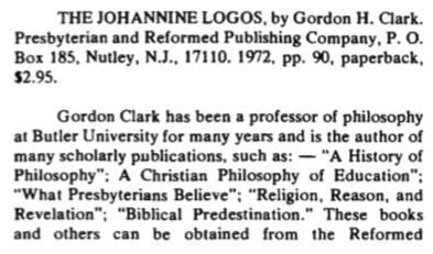ghc review 20; the johannine logos, review, blue banner faith and life, vol 28, jan-mar, 1973, no. 1, p. 85-86