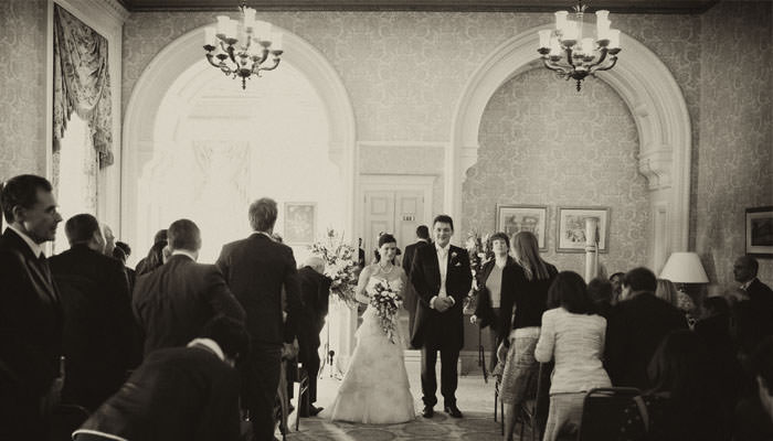 Wedding Photograph of bride and groom at Heythrop Park, Oxfordshire