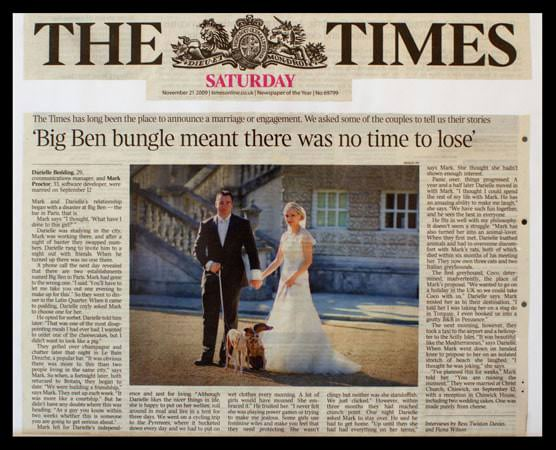 Wedding Photograph featured in the Times Newspaper