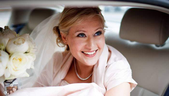 Wedding Photograph - Bride in Car at Hurlingham Club, Fulham, London