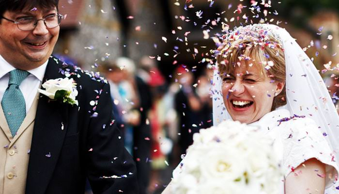 Wedding Photograph of Confetti as Leaving Rickmansworth Church