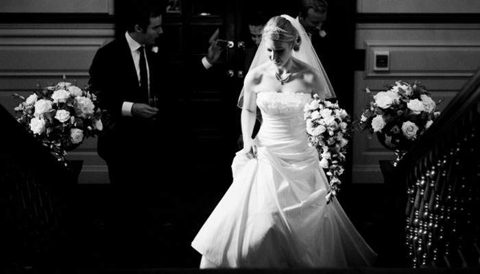 Wedding Photograph of bride arriving at Inner Temple in London