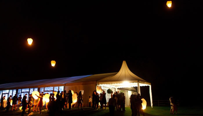 Wedding Photograph at Michlefield Hall, Hertfordshire - Chinese Lanterns