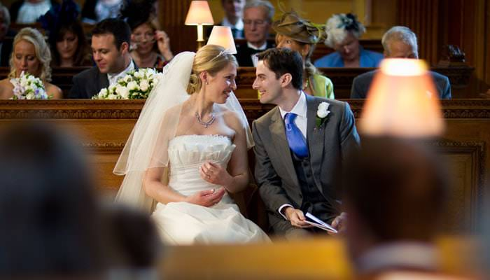 Wedding Photograph of bride and groom at St Brides Church, London