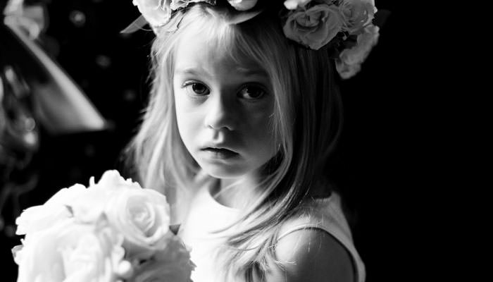 Wedding Photograph of Bridesmaid in Black and White