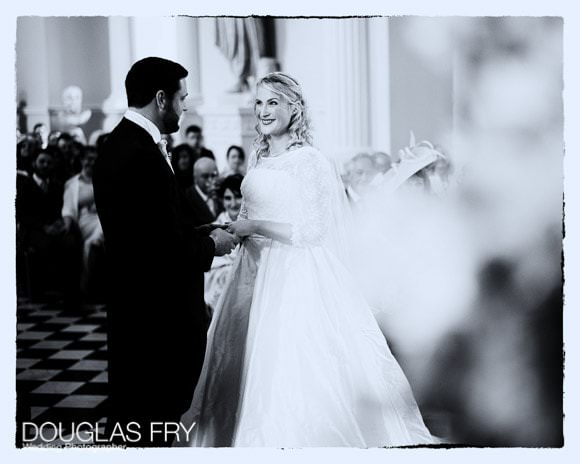 Photograph of the wedding ceremony at Syon Park - black and white shot