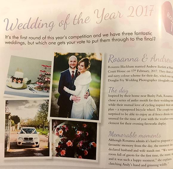 2017 Competition for Wedding of the Year - Article in Magazine