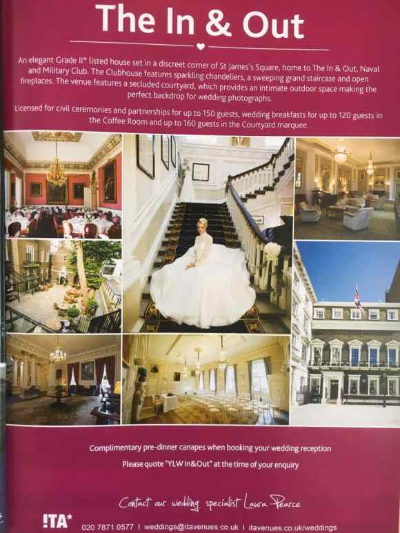 Advertisment in You and Your Wedding Magazine for In & Out Club featuring Douglas Fry Wedding Photographer's pictures