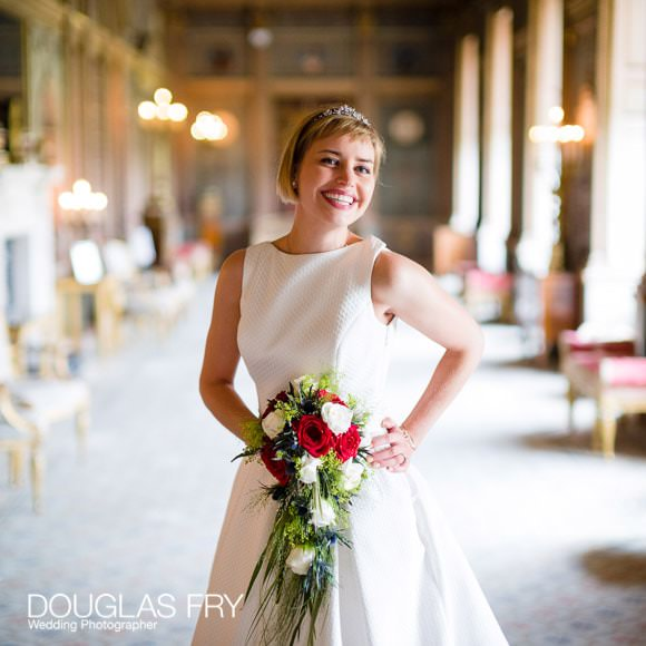 Bride in the long gallery at Syon after Wedding Ceremony