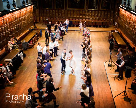 Dancing at Middle Temple at end of wedding reception