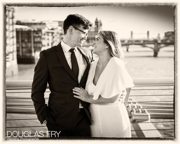 Wedding Photograph in London with Thames behind