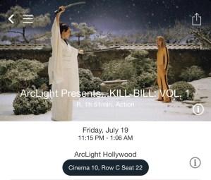 ArcLight Hollywood - Kill Bill: Vol. 1 (digital ticket)