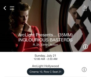 ArcLight Hollywood - Inglorious Basterds (digital ticket)