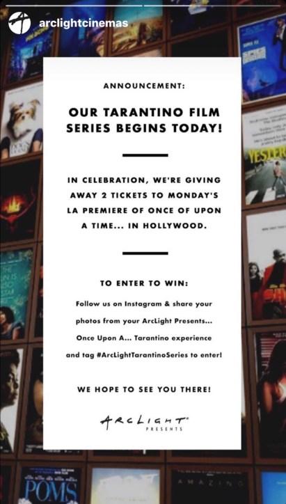 ArcLight Cinemas - photo contest - Instagram - screenshot