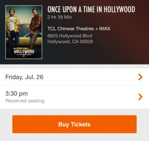 Fandango - TCL Chinese Theatres - Buy Tickets - Once Upon a Time in Hollywood
