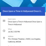 Once Upon A TIme In... Hollywood - TCL Chinese Theatres - Confirmation Number (screenshot)