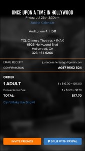 Once Upon a Time in Hollywood - TCL Chinese Theatres (additional ticket info)