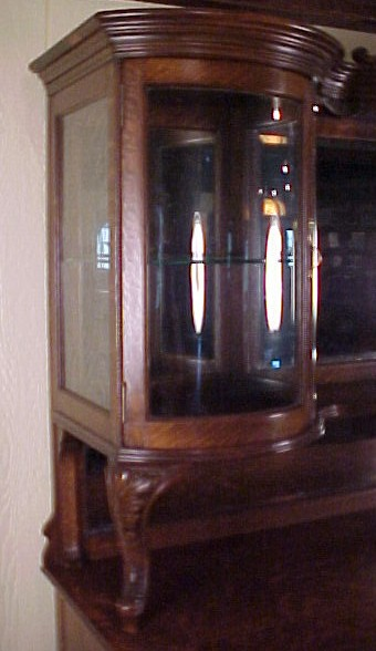 Large Oak Sideboard W Curved Glass Curio Sections