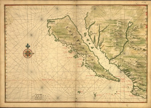 1650 Map showing California as an island.
