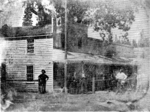 Placer Hotel (Jackass Saloon) with Hangman's Tree behind it (circa 1850)